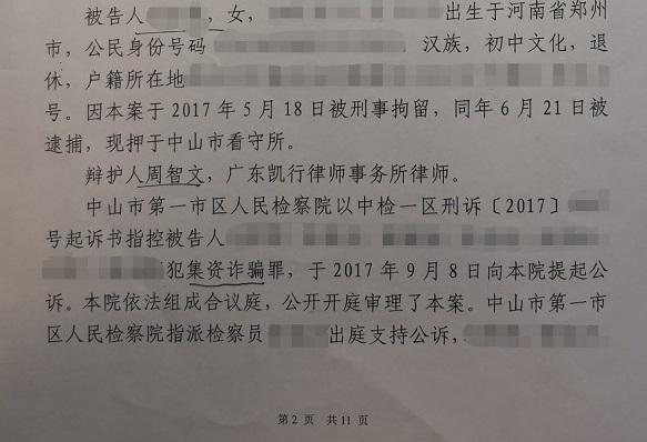 翟鑫霞 集资诈骗1